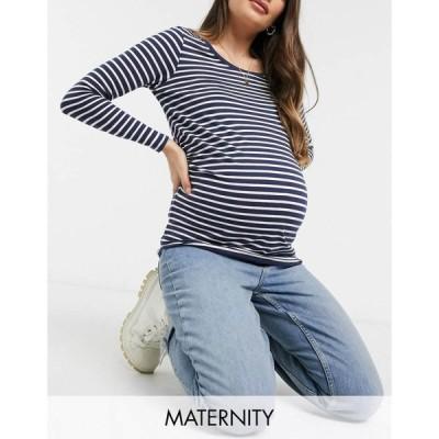 ニュールック New Look Maternity レディース 長袖Tシャツ トップス long sleeve t-shirt in navy stripe ブルーパターン