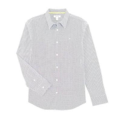 カルバンクライン メンズ シャツ トップス Slim-Fit Dot Print Stretch Long-Sleeve Woven Shirt