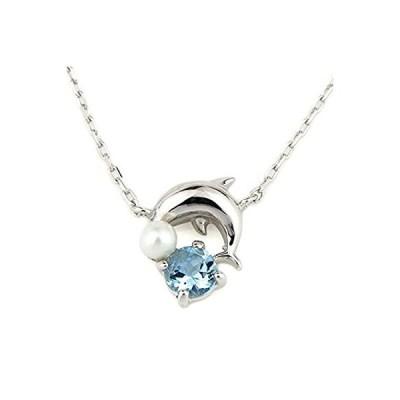 ブルートパーズ 淡水 真珠 パール ネックレス K10WG 10金 ホワイトゴールド 11月の誕生石 6月の誕生石 イルカ ドルフィン レディース
