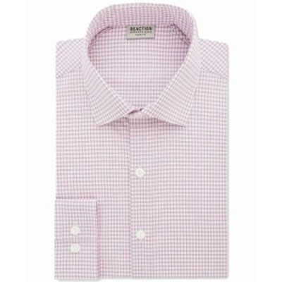 Kenneth Cole ケネスコール ファッション ドレス Kenneth Cole Reaction Mens Dress Shirt Pink Size 18 Gingham Slim Fit