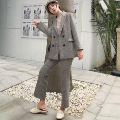 セットアップ レディース スーツ かっこいい服 オールインワン ジャケット ロング丈 長袖 袖あり 20代 30代 40代 グレー 無地 Iライン