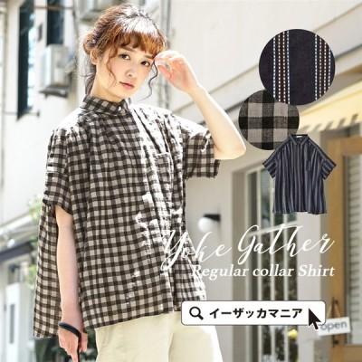 シャツ レディース ブラウス 半袖 大きめサイズ ゆったり  綿混 コットン混 Aライン ギンガムチェック ギンガム ストライプ 総柄