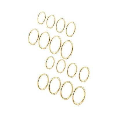 Fansilver 16Pcs 14K Gold 1mm Plain Band Knuckle Stacking Rings for Women Stainless Steel Midi Thin Rings Comfort Fit Size 3-10