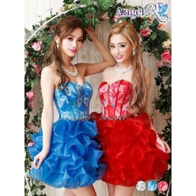AngelR キャバ ドレス キャバドレス ワンピース ベアトップ花柄オーガンジー ミニドレス minidress 大人 女性 ピンク 青 緑