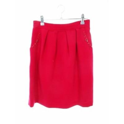 【中古】レッセパッセ LAISSE PASSE スカート フレア ミニ ビジュー 38 ピンク /MO レディース