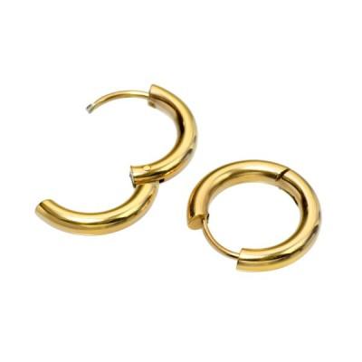 【バラ売り/1個】 ピアス サージカルステンレス シンプルなパイプ型フープピアス 幅3.0mm 直径18.0mm 金色 ゴールド  レディース メンズ
