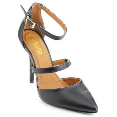 ヒール パンプス ビジネス シューズ 靴  X2B PATTY-2 レディース Pointed トゥ Closed Back Stiletto ヒール アンクルストラップ ドレス  BLACK