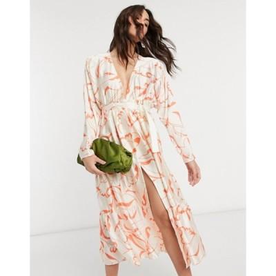 エイソス レディース ワンピース トップス ASOS DESIGN satin wrap tiered maxi dress in abstract print
