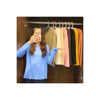 【送料無料】春秋 薄いスタイル 単一色 ルース ヘッジ ラウンドネックTシャツ 女 新しいデザイン | 346770_A63832-5804360