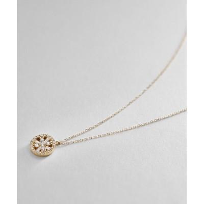 COCOSHNIK(ココシュニック) K18ダイヤモンド テーパーカット透かし取り巻き ネックレス