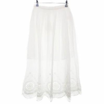【中古】未使用品 トランテアン ソン ドゥ モード スカート フレア ロング コットン 刺繍 36 白 ボトムス レディース