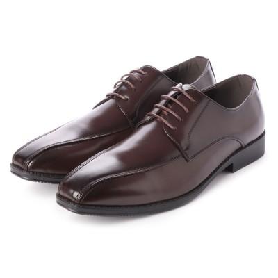 ジーノ Zeeno ビジネスシューズ メンズ 幅広 3EEE 防滑 レースアップ スワールモカ 外羽根 紳士靴 大きいサイズ対応 キングサイズ (D/Brown)