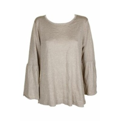 Calvin Klein カルバンクライン ファッション トップス Calvin klein heather beige metallic bell-sleeve sweater round neck