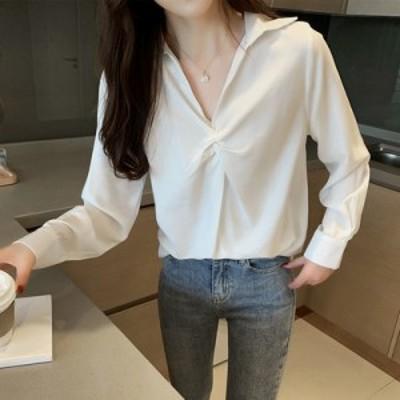 トップス シャツ スキッパーシャツ アイボリー オフィス カジュアル 着やせ効果