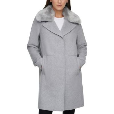 ケネス コール Kenneth Cole レディース コート アウター Petite Faux-Fur-Collar Walker Coat Light Grey