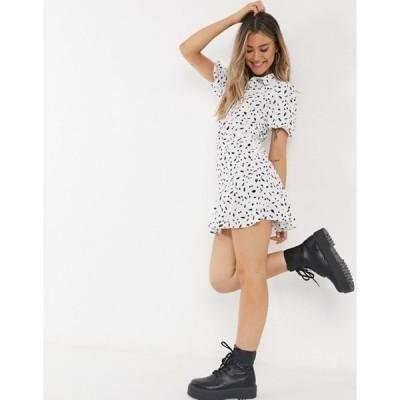 ミスセルフフリッジ レディース ワンピース トップス Miss Selfridge floral print mini shirt dress in ivory