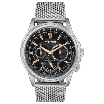シチズン メンズ 腕時計 アクセサリー Eco-Drive Men's Calendrier Stainless Steel Mesh Bracelet Watch 44mm