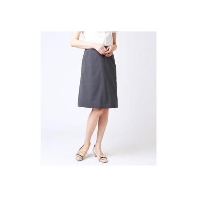 ニューヨーカー NEWYORKER 【ウォッシャブル】ウールストライプ Aラインスカート (グレー)