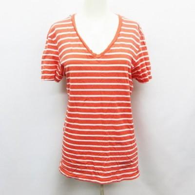 【中古】アルマーニエクスチェンジ A/X ARMANI EXCHANGE Tシャツ カットソー 半袖 Vネック ボーダー S 赤 レッド系 白 ホワイト系 レディース 【ベクトル 古着】