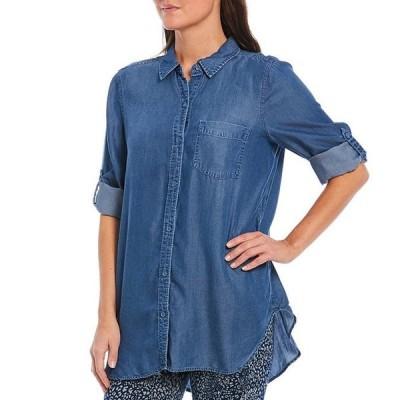 イントロ レディース シャツ トップス Tencel Indigo Slub Roll-Tab Sleeve Button Down Hi-Low Shirt