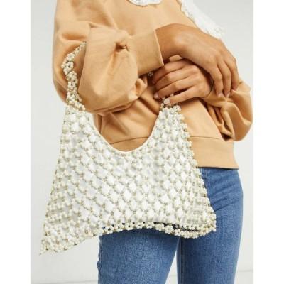 エイソス ASOS DESIGN レディース クラッチバッグ ビーズバッグ バッグ pearl beaded grab clutch bag クリーム