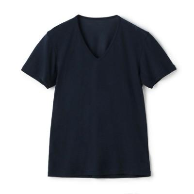 夏の快適インナー ボディクーラー セブンプレミアムライフスタイル ボディクーラー メンズ メッシュ 半袖V首シャツ ネイビー S