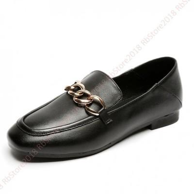 フラット  パンプス スクエアトゥ 牛革 歩きやすい スリッポン 柔らかい  らくちん  滑り止め  美脚 大きいサイズ 韓国風 痛くない 可愛い レディース 靴
