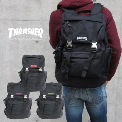 スラッシャー リュック 黒 THRASHER リュックサック サイドポケット メンズ レディース B4 サイドファスナー マザーズバッグ