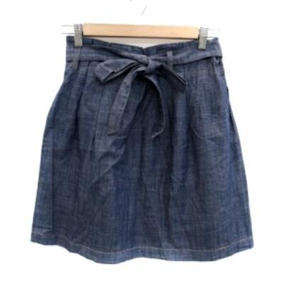 【中古】ニーム NIMES スカート フレア ダンガリー ひざ丈 リボンベルト付き 1 紺 ネイビー /HO35 レディース