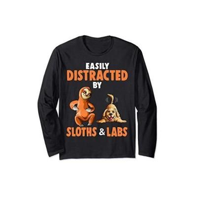 ナマケモノやラブラドール犬に気を取られやすい恋人への贈り物 長袖Tシャツ