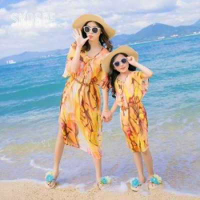 ママ レディース 女の子 リゾート シフォン ワンピース 花柄 ワンピ 半袖 キッズ 子供 夏 薄い生地 海 ビーチ 旅行 リゾートキッズ ハワ
