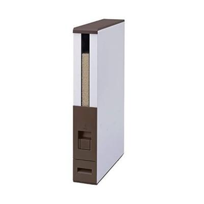 エムケー精工 米びつ 12kg スリム 幅10cm 鋼板製(頑丈/サビにくい) ライスストッカー レバー方式 ライスエース ブラウン キャス