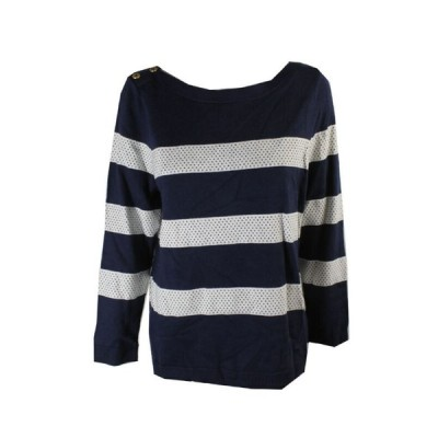 レディース セーター クルクル Charter Club Navy White Long-Sleeve Striped Sweater XL