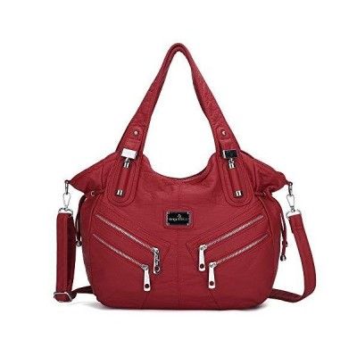 Women Handbags Shoulder Bags Washed Leather Satchel Tote Bag Mutipocket Purse (1135#8521#135red)【並行輸入品】