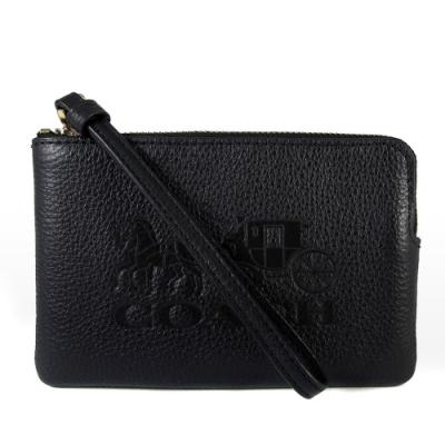 COACH 壓印大馬車Logo荔枝紋皮革手拿包(黑色)
