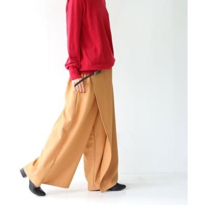 【オシャレウォーカー】 n'Or巻きスカート風ワイドパンツ レディース キャメル フリーサイズ osharewalker