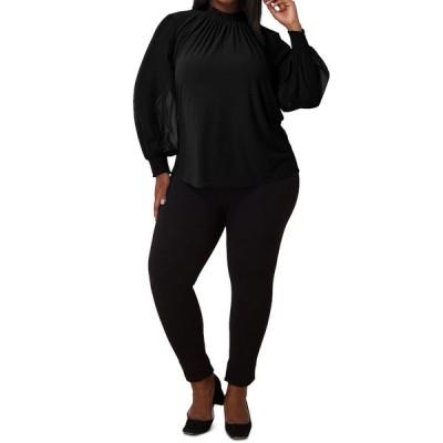 マリープルトワ Maree Pour Toi レディース ブラウス・シャツ 大きいサイズ トップス Plus Size Crepe Knit Chiffon-Sleeve Blouse Black
