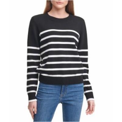カルバンクライン レディース ニット・セーター アウター Crew Neck Striped Sweater Black/Soft Whit