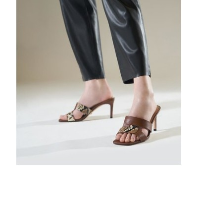 【2021 SPRING】レザーカットアウト スティレットミュール / Leather Cut-Out Stiletto Mules