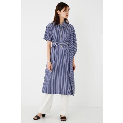 【シェルターセレクト】 ベルテッドアシメントリーシャツワンピース(Belted Asymmetry Shirt Dress) レディース 柄NVY5 FREE SHEL'TTER SELECT