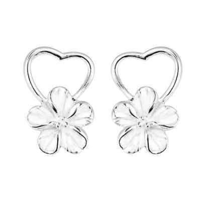 イヤリング アルヴィダ Handmade Pure Heart Hawaiian Plumeria Flower .925 Silver Earrings (Thailand)