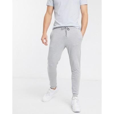 エイソス メンズ カジュアルパンツ ボトムス ASOS DESIGN skinny lightweight sweatpants in gray