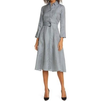 ヒューゴ ボス BOSS レディース ワンピース シャツワンピース ワンピース・ドレス Danimala Long Sleeve Silk Fit & Flare Shirtdress Blue Jade Fantasy