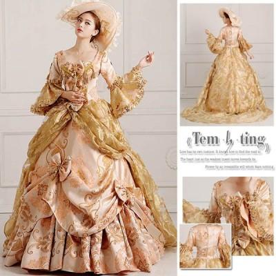 送料無料【帽子をプレゼント♪】【サイズ有S/M/L/XL/2XL/3XL】お姫様カラードレス ロングドレス ステージ衣装 舞台衣装用 王族服 豪華なド