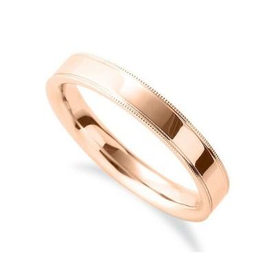 指輪 18金 ピンクゴールド シンプルで上品なミル打ちリング 幅3.5mm|K18PG 18k 貴金属 ジュエリー レディース メンズ