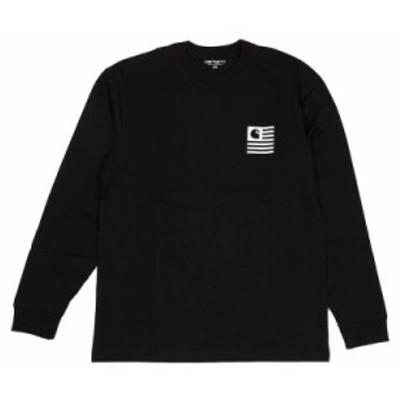 カーハート メンズ Tシャツ カットソーXSサイズ/Carhartt 長袖 バックプリントクルーネック Tシャツ カットソー ブラック