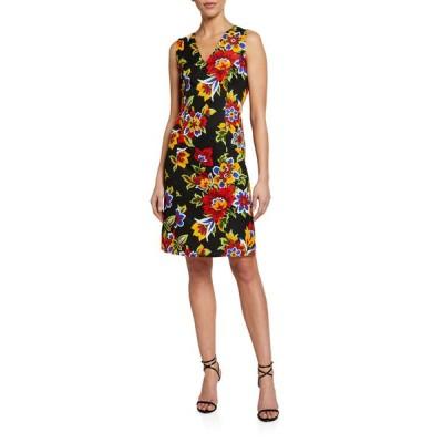 キャロライナヘレラ レディース ワンピース トップス Floral Jacquard V-Neck Shift Dress