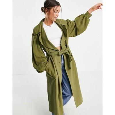 エイソス レディース コート アウター ASOS DESIGN oversized linen trench coat with sleeve detail in khaki