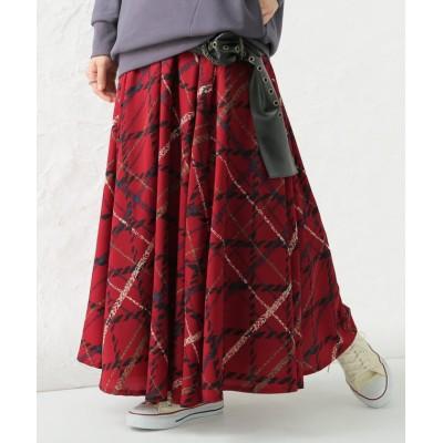 【オシャレウォーカー】 『ビッグチェック柄プリントスカート』 レディース レッド フリーサイズ osharewalker