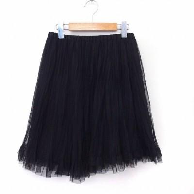 【中古】ティアラ Tiara スカート フレア チュール 膝丈 ウエストゴム ペチコート付き ブラック /ST8 レディース 【ベクトル 古着】